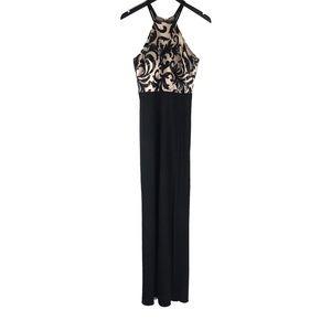 Nightway Black Sequin Knee High Split Gown Dress